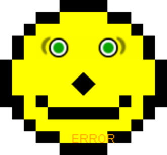"""Acid2 - The smiley face of the first version of Acid2. Due to problems in this version of the test, the mouth is too close to the nose and the text """"ERROR"""" appears even in a standards-compliant browser."""