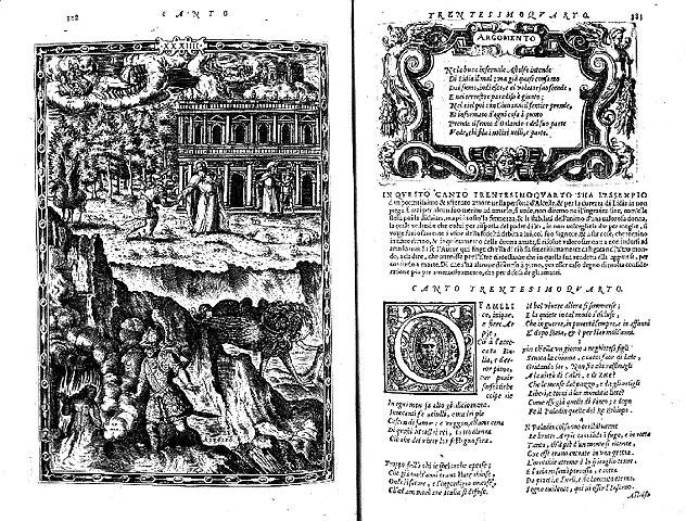 Тридцать четвёртая песнь «Неистового Роланда». Издатель Франческо Франческини. 1565