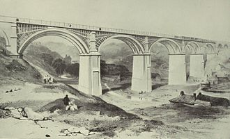 York, Newcastle and Berwick Railway - Ouseburn Bridge; it was built using laminated timber arches on masonry piers