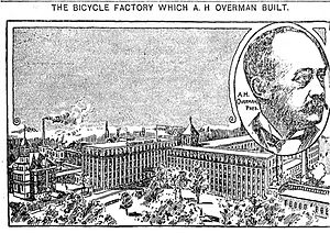 Overman Wheel Company - Image: Overman wheel company factory