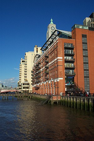 Thames Path - The OXO Tower in central London; the south bank branch of the Thames Path passes to the river side of the building
