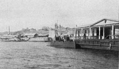 P379c The quay at Khabarovsk, with Russian gunboat.jpg