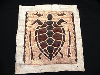 Tapa cloth - This tapa cloth was made in Papua New Guinea. Tapa can be made from the inner bark of paper mulberry or breadfruit trees.