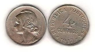 Portuguese escudo - Portugal: 4 centavos 1917