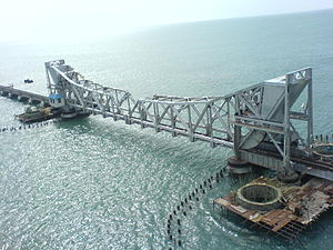 Pamban Bridge - Lifting spans allow small ships through pass through