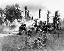 U.S. troops advancing towards a palm jungle, behind tanks on Panay Island.