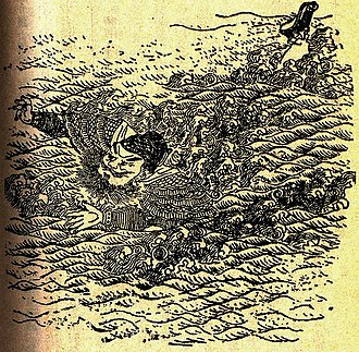 Battle of Fancheng - Illustration of Pang De in a scene during the Battle of Fancheng from a Qing dynasty edition of the historical novel Romance of the Three Kingdoms