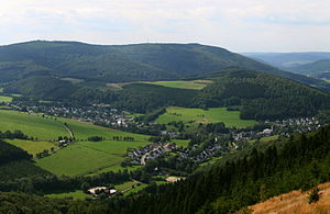 Olsberg, Germany - view of Ginsterkopf and Elleringhausen