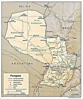 Carta de relieve de Paraguay