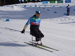 Atleta amputada dos membros inferiores, vestindo azul e usando óculos de proteção, compete posicionada sobre uma espécie de cadeira com esquis.