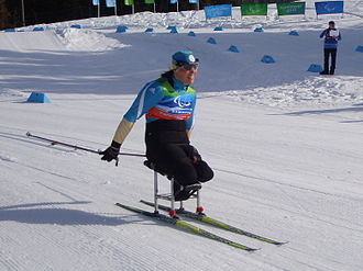 Paralympic cross-country skiing - Olena Iurkovska of Ukraine competing on cross-country sit-skis at the 2010 Winter Paralympics.