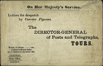 Pigeon post - Cover that contained mail to be sent by pigeon post