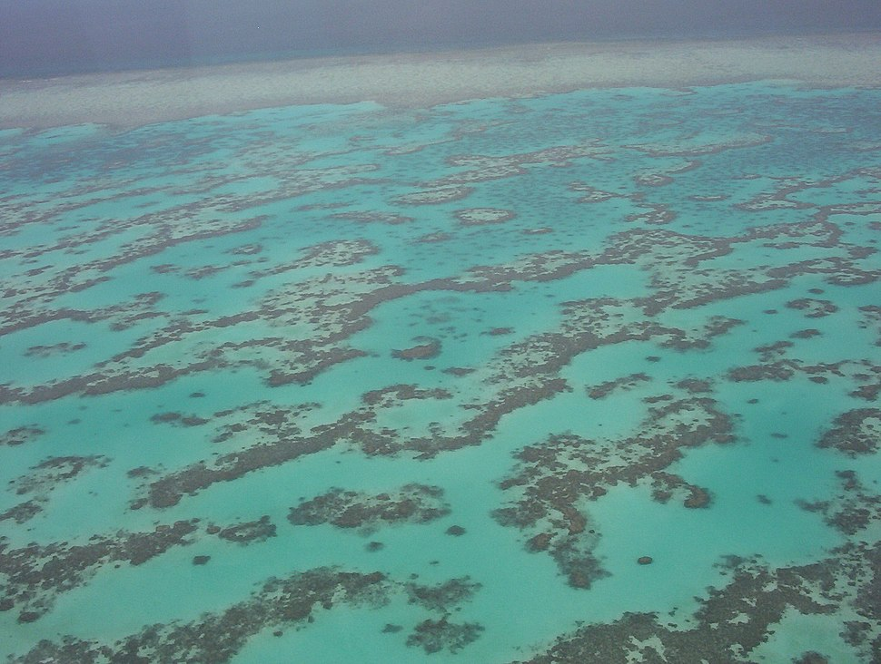 Part of Great Barrier Reef from Helicopter