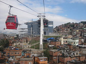 Complexo do Alemão - Gondola lift leaving the Estação da Baiana (Baiana Station) within the Complexo do Alemão; which is used by local residents and tourists