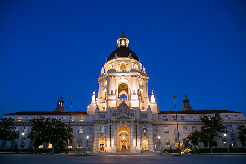 File:Pasadena City Hall at dusk.jpg