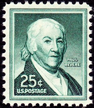 English: Paul Revere on a 25-cent stamp from 1958