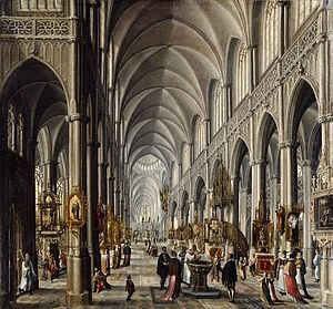 Paul Vredeman de Vries - Interior of a Gothic church, ca. 1596, now at the Kunsthistorisches Museum in Vienna