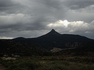 Cerro Pedernal - From near Coyote, New Mexico, in summer monsoon weather