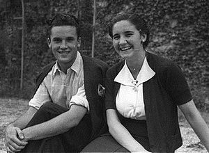 Pepita Embil - Embil with another member of Eresoinka in Belloy, France, 1938