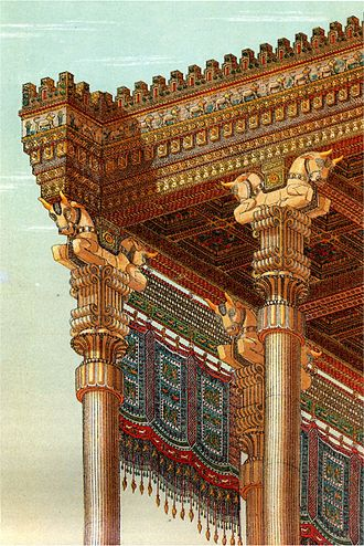 Apadana - Reconstruction of the Apadana's roof by Chipiez