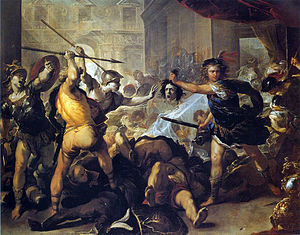 Phineus (son of Belus) - Perseus turns Phineus and his followers to stone (Luca Giordano, 17th century)