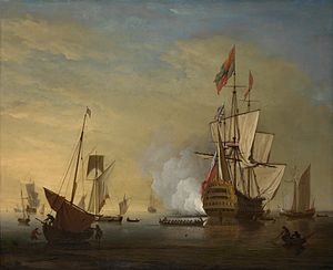 Peter Monamy (attrib.) - Harbor scene. An English ship with sails loosened firing a gun.jpg