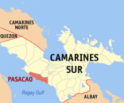 Map of Camarines Sur showing the location of Pasacao