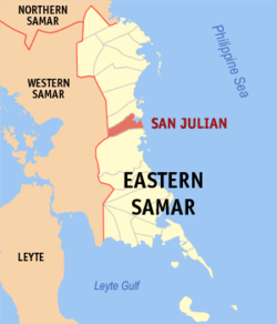 Map of Northern Samar with San Julian highlighted