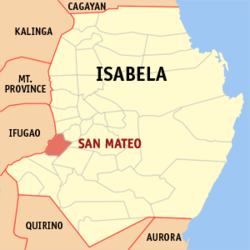 Map of Isabela showing the location of San Mateo