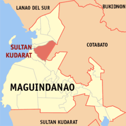 Map of ماگوئنداناؤ showing the location of Sultan Kudarat