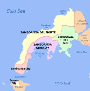 English: Political map of the Zamboanga Penins...