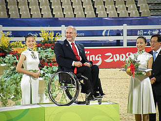 Philip Craven - Craven participating in the medal presentation ceremony for the equestrian events at the 2008 Beijing Paralympics
