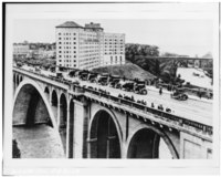 Photocopy of a photograph (original negative in the archives of the Cleveland Plain Dealer)-1930 VIEW OF ROCKY RIVER BRIDGE LOOKING WEST, WITH WESTLAKE HOTEL IN BACKGROUND - HAER OHIO,18-RORI,1-14.tif