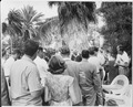 Photograph of President Truman surrounded by reporters during his press conference in the garden of his vacation... - NARA - 200554.tif