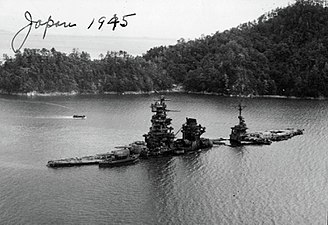 Japanese battleship Hyūga - Hyūga sunk in shallow waters