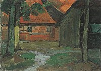 Piet Mondriaan - Farmyard with carriage barn in the Achterhoek - A77 - Piet Mondrian, catalogue raisonné.jpg