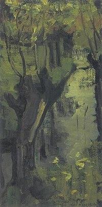 Piet Mondriaan - Irrigation ditch with pollarded willows - A238 - Piet Mondrian, catalogue raisonné.jpg