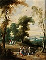 Pieter Meulener – Forest with a hunters on horseback and falconers on a path.jpg