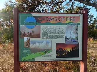 Long Island Central Pine Barrens - DEC sign commemorating the fire