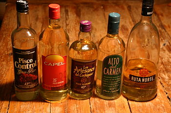 Some bottles of Chilean Pisco