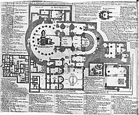 Floor plan of the church and surrounding areas, detailed descriptions in Greek
