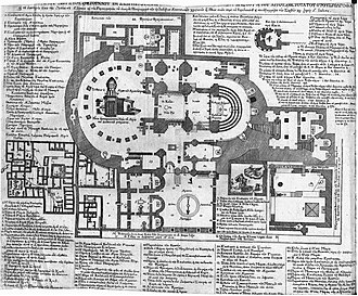 Floor plan of the church and surrounding areas, 1807 Plan of the Church of the Holy Sepulchre and adjacent structures in Jerusalem - Chrysanthus of Bursa - 1807.jpg
