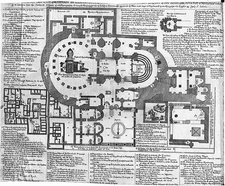 Plan of the Church of the Holy Sepulchre and adjacent structures in Jerusalem