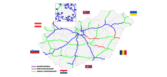 Highways in Hungary - Existing (blue), U/C (red) and planned (green) highway-network of Hungary as of 2017