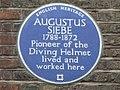 Plaque re Augustus Siebe, Denmark Street, WC2 - geograph.org.uk - 1295373.jpg