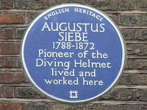Denmark Street - A blue plaque commemorating the former house of Augustus Siebe, who pioneered the diving helmet.