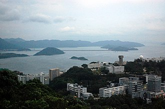 Tolo Harbour - Tolo Harbour with the campus of the Chinese University of Hong Kong