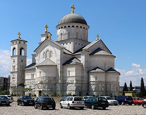 Religion in Montenegro - Cathedral of the Resurrection of Christ in capital Podgorica.