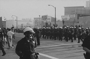 White Horse Inn (Oakland, California) - Protestors against the Vietnam War marched from the University of California, Berkeley to downtown Oakland during Stop the Draft Week, October 1967. Demonstrations like this dominated the climate of Oakland in the middle of the 20th-century.