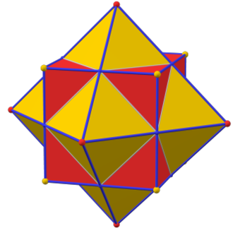 Dual polyhedron - The dual of a cube is an octahedron. Vertices of one correspond to faces of the other, and edges correspond to each other.